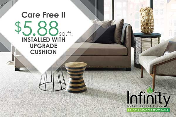 INFINITY CARPET COLLECTION Care Free II $5.88 sq.ft.  INSTALLED with Upgrade Cushion