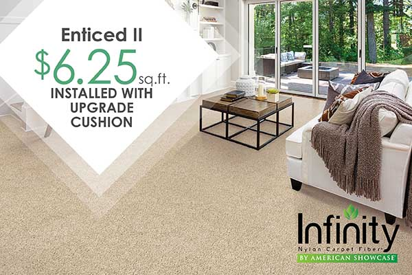 INFINITY CARPET COLLECTION Enticed II $6.25 sq.ft.  INSTALLED With Upgrade Cushion