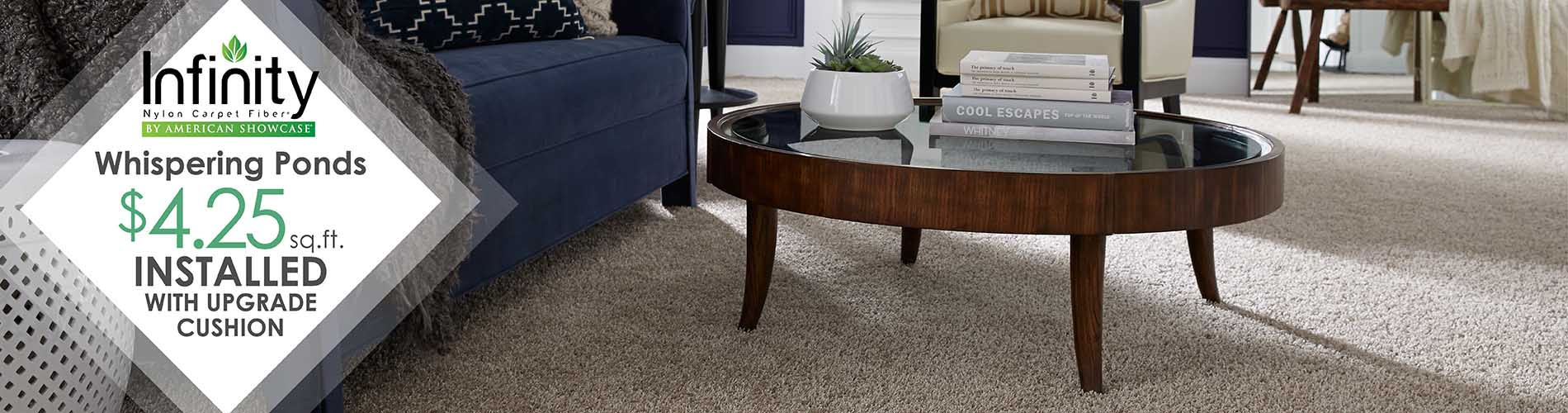 INFINITY CARPET COLLECTION Whispering Ponds $4.25 sq.ft.  INSTALLED With Upgrade Cushion